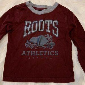 ROOTS Boys Long Sleeve Maroon Shirt | Size 3T